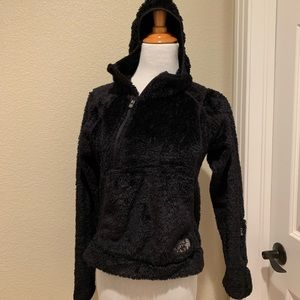 The North Face furry teddy black hoodie size XS